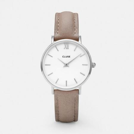 CLUSE MINUIT CL30044 WATCH - SILVER / WHITE / NOISETTE
