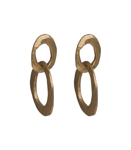 Chikahisa Studio Skipping Stones Double Oval Earrings - Bronze