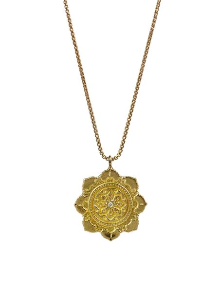 Lulu Designs White Diamond Chakra Necklace - Yellow Bronze