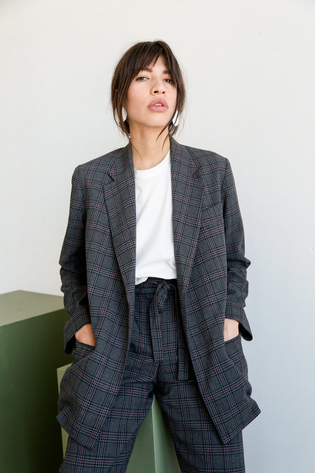 Mijeong Park Oversized Plaid Jacket - Charcoal