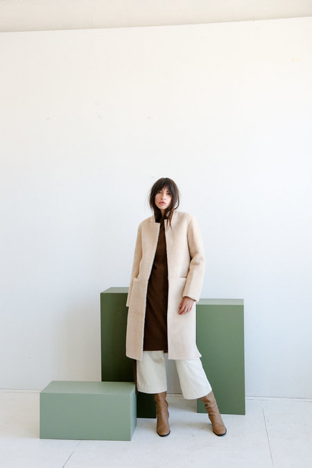 Mijeong Park Faux Shearing Coat - Light Beige