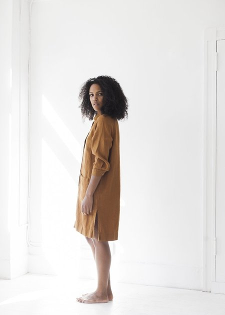 Beaton Linen Raglan Coat Dress - Rust
