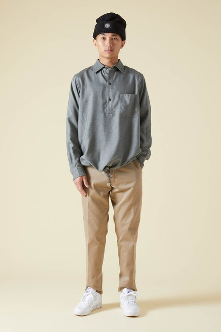 TSS Wooly Touch Serge Hem String Shirt - Gray