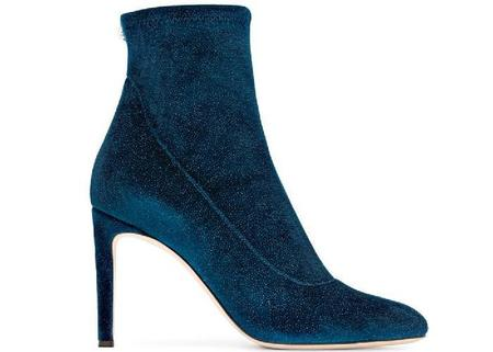 Giuseppe Zanotti Celeste Glitter Velvet Stretch Bootie - Blue