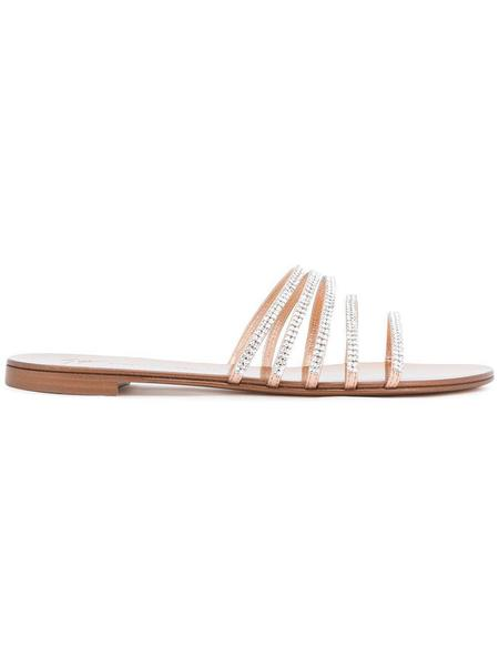 Giuseppe Zanotti Embellished Flat Sandals - Metal Ramino