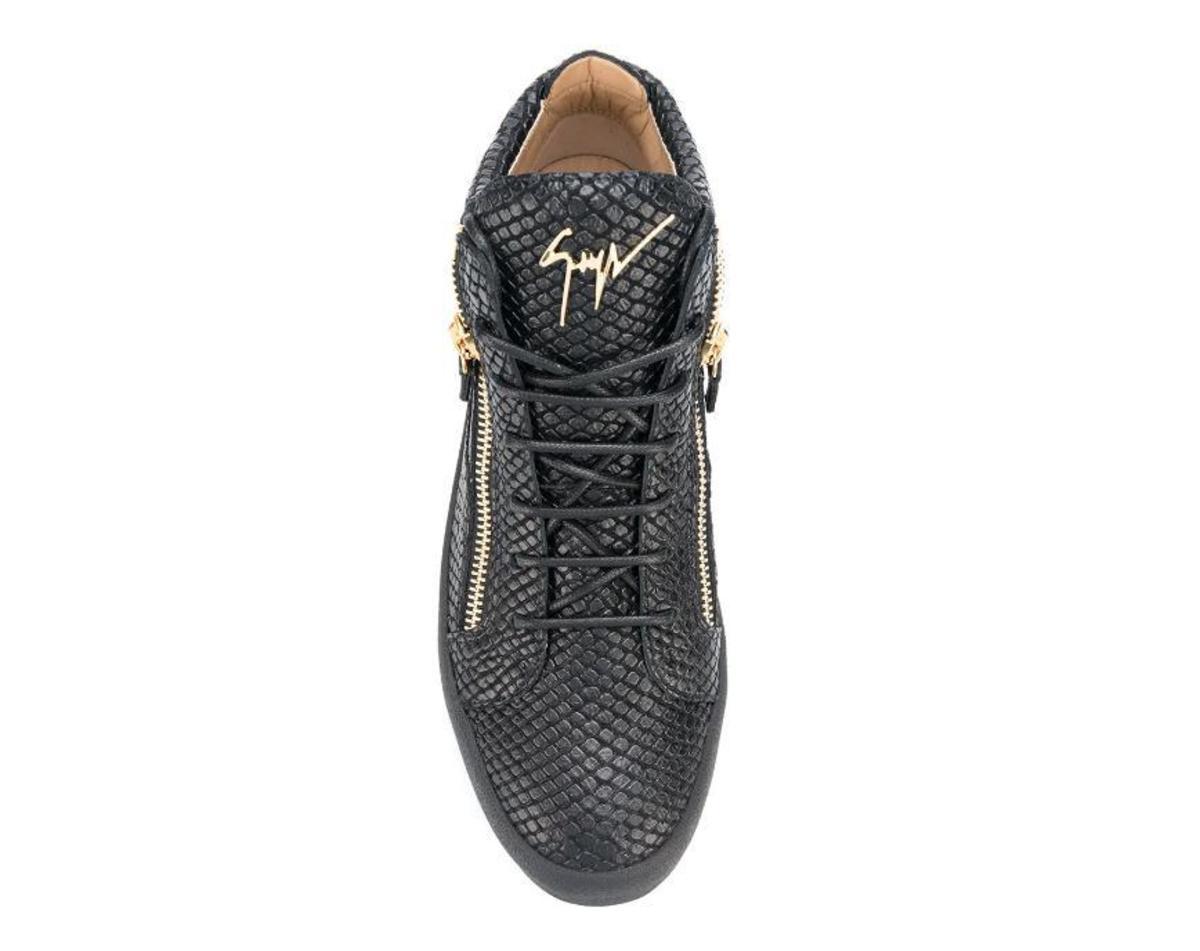 9ce1240455549 Giuseppe Zanotti Kriss Lizard-Effect Sneakers - Black | Garmentory