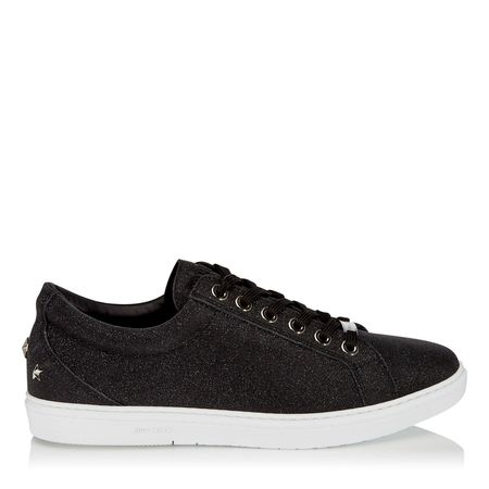 JIMMY CHOO Cash Fine Glitter Leather Low Top Trainers - Black