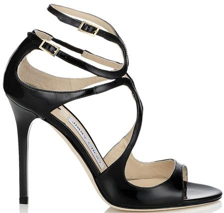 Jimmy Choo Lang Patent Strappy Sandals - Black