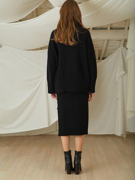 LOOKAST Cahsmere Wool Knit Turtleneck Skirt Two Piece - Black