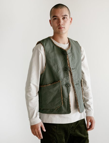 Engineered Garments Double Cotton Cloth Over Vest - Olive