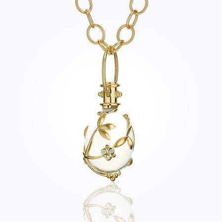 Temple St. Clair 18K Vine Amulet with Oval Rock Crystal and Diamond - 24x18mm