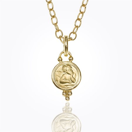Temple St. Clair Angel Pendant 10mm - Yellow Gold