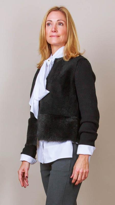 TONET Black Shearling And Knit Jacket - Black