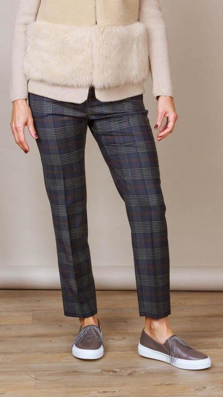 Peserico Blue Plaid Pants