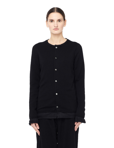 Comme des Garcons Crew Neck Padded Cardigan - Black