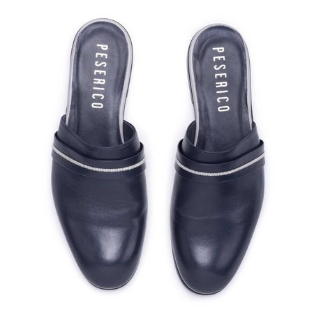 Peserico Leather Slides - Navy