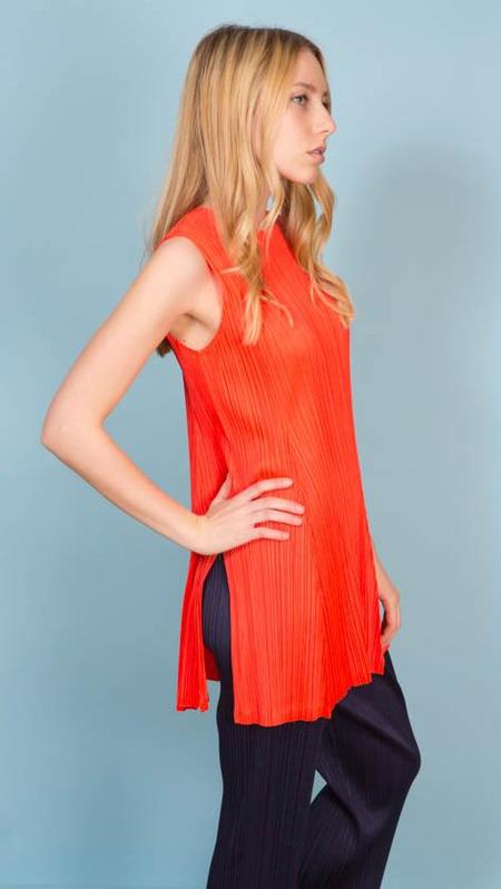 Issey Miyake Pleats Please Sleeveless Tunic - Red/Orange