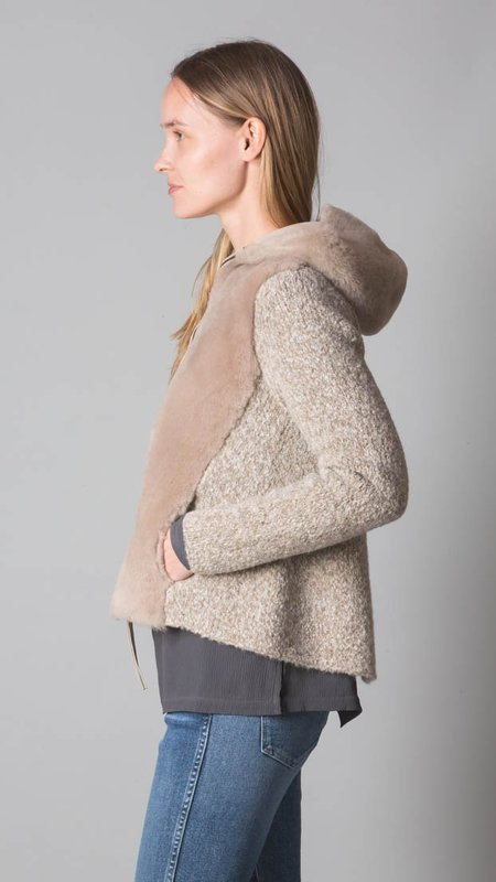 TONET Shearling And Alpaca Wool Cardigan