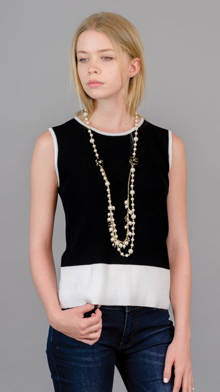 Edward Achour Paris Sleeveless Crew Neck Sweater - Black/White
