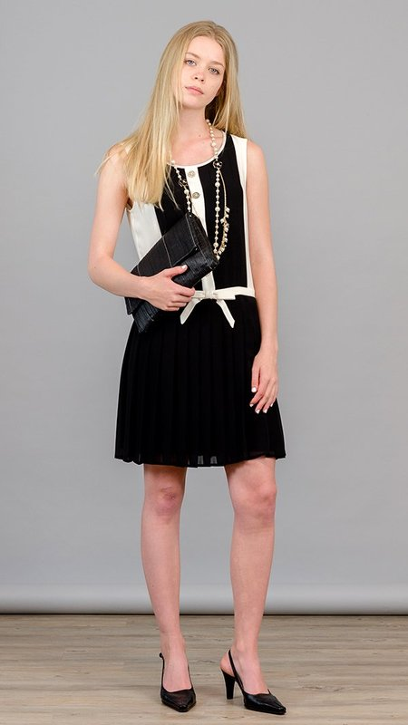 Edward Achour Paris Sleeveless Pleated Dress - Black/White