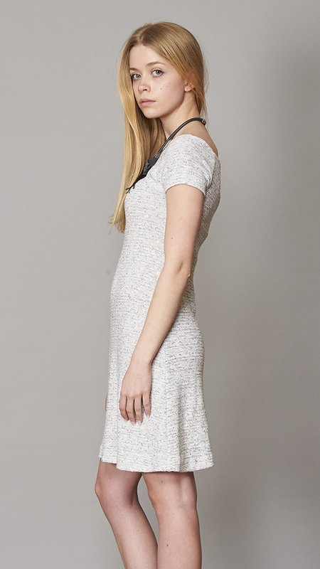 Amina Rubinacci Tweed Dress With Short Sleeves - Gray
