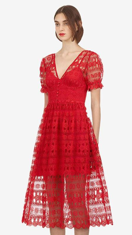 Self-Portrait V-Neck Lace Midi Cocktail Dress - Red