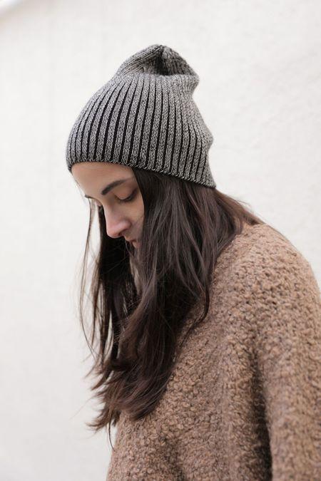Kordal Plaited Rib Knit Hat - Black/Cream