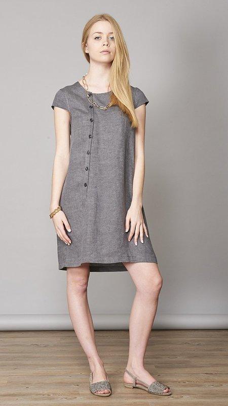 Eleventy Linen Cuff Sleeves Dress - Gray
