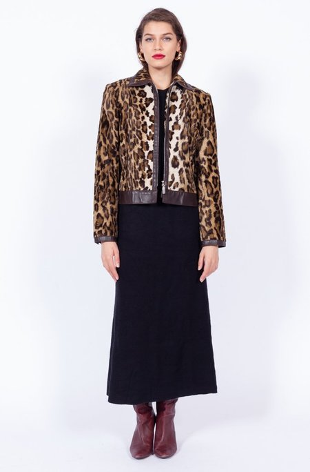 Yo Vintage! Leopard Print Leather Jacket