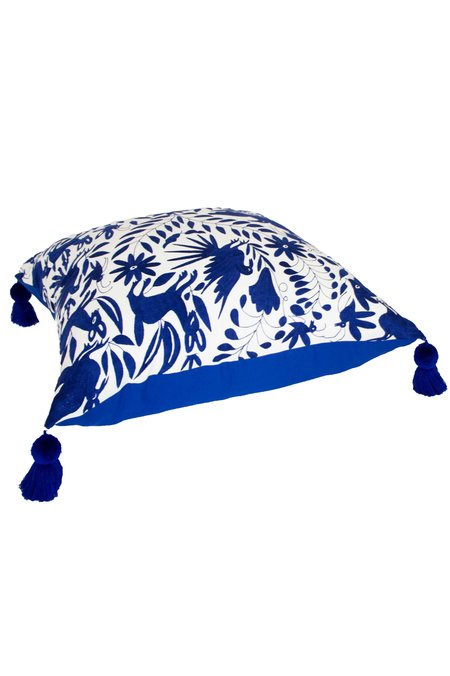 Nativa Oversized Otomi Floor Pillow - Royal Blue