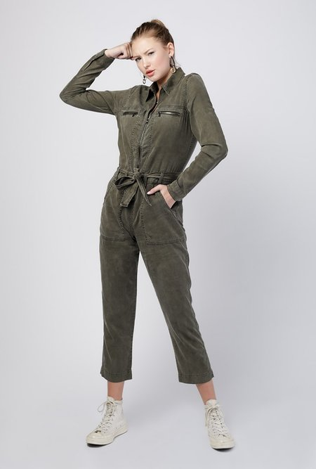 Hudson Jeans Twill Jumpsuit - Washed Army Green