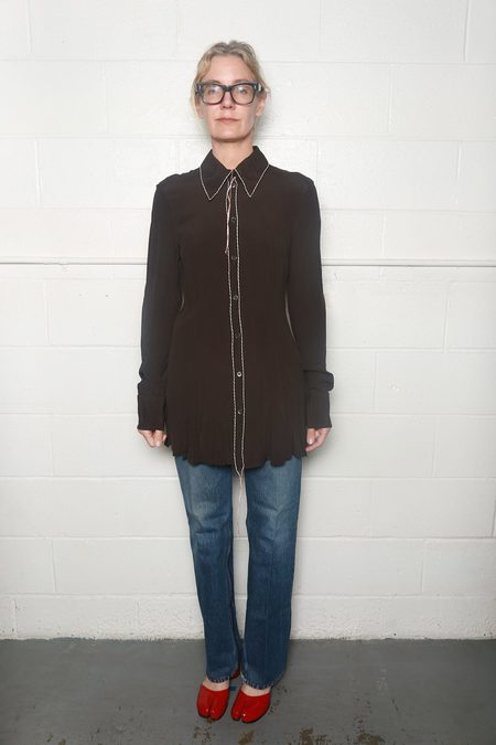 Marni Washed Crepe Long Sleeve Polo Neck Shirt - Metal Brown