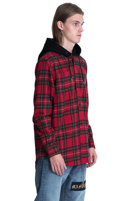 Mastermind World Hooded Check Flannel Shirt - Red