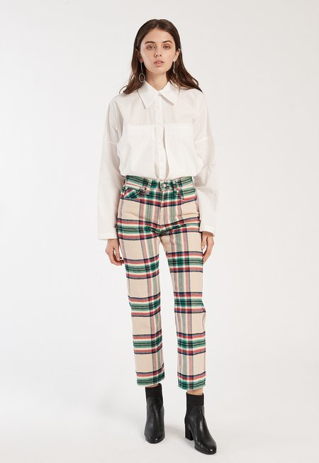 Father's Daughter LA Raegan Denim Pants - Plaid