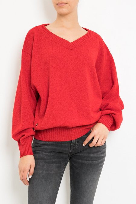 Laurence Bras POUILLE V NECK SWEATER - Rouge