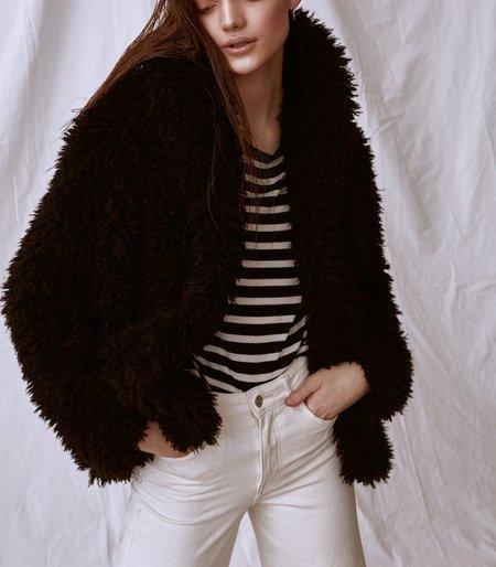 Line the Label Emile Faux Shearling Coat - BLACK