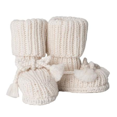 KIDS Tane Organics Socks Booties with Ties - Ecru Cream