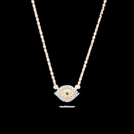 Adina Reyter Super Tiny Pavé Evil Eye Necklace - 14k yellow gold