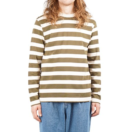 Norse Projects Johannes Rugby Stripe LS - Sitka Green