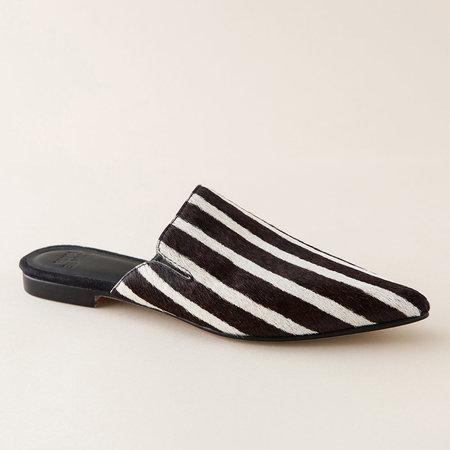 Huma Blanco Ilaria Haircalf Mule - Black/White Stripe