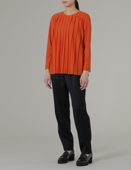 PLAINLLESS PLEATED JERSEY TOP