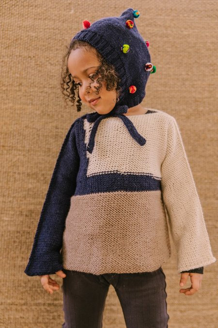KIDS Cabbages & Kings Pom Bonnet - Navy