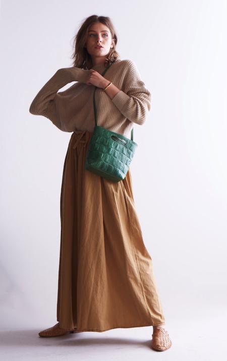 Marie Turnor The Nouveau Embossed Mini-Emporte Bag - Green Reptile