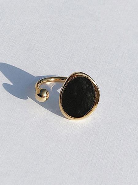 CONTEMPO.H Black Serpentine Pebble Open Ring