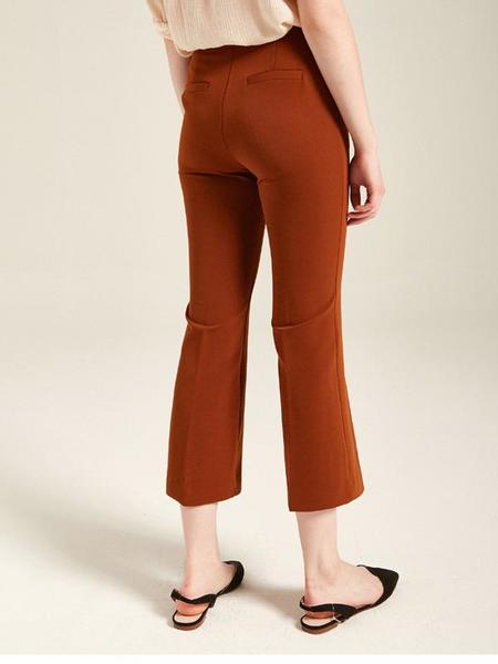 YAN13 Slim Line Bootcut Pants - Brown