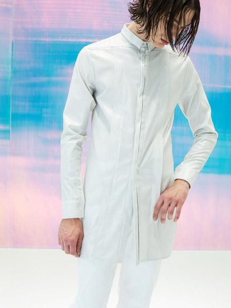 DOZOH PLEATED LONG SHIRT - WHITE