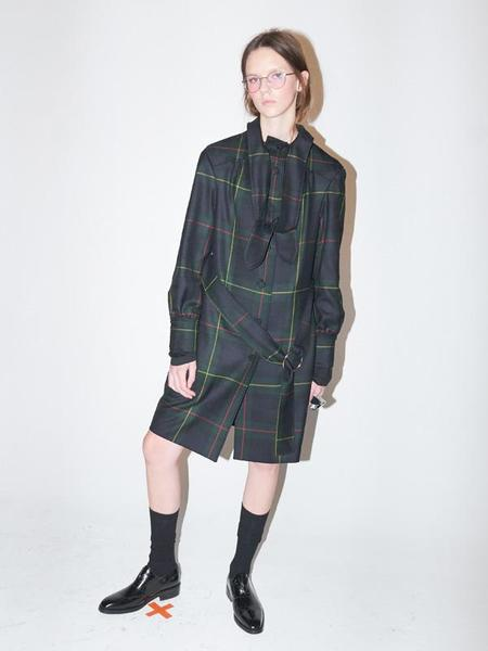 Bouton Tied Trench Coat - Green Check