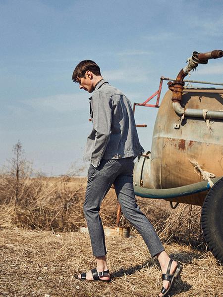YAN13 Washed Trucker Jacket - Gray