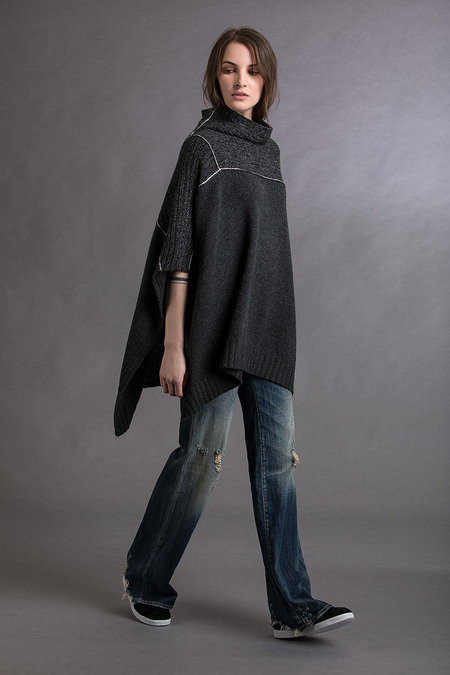 Paychi Guh Cashmere Mock Neck Poncho - Charcoal Multi