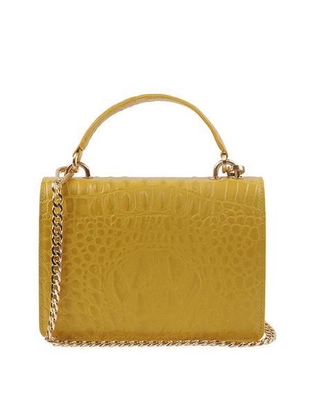 JOORTI J114 Mini Square Caiman Cross Body Bag - Yellow